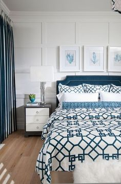 A beautiful board and batten look for behind a bed is stunning! More ideas for decorating above a bed on A Blissful Nest. http://ablissfulnest.com/