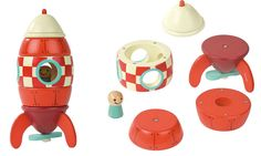 Janod Magnetic Wooden Toy Rocket - UrbanBaby