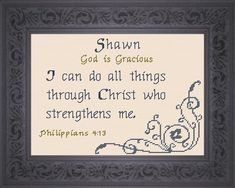 Shawn - Name Blessings Personalized Cross Stitch Design from Joyful Expressions Cross Stitch Designs, Stitch Patterns, Plastic Canvas Crafts, Names With Meaning, Crossstitch, Gifts For Family, Joyful, Custom Framing, Daughters