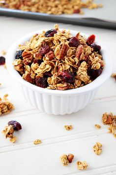 Cranberry Maple Pecan Granola clusters--so crispy, crunchy, and delicious! Sunny Side Ups Waffle Recipes, Oatmeal Recipes, Brunch Recipes, Sweet Recipes, Snack Recipes, Dessert Recipes, Vegan Recipes, Desserts, Breakfast Sandwich Recipes
