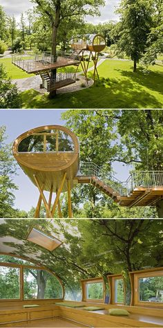 Treehouse by Baumraum / World of Living, a showspace/amusement park for sustainable housing in Rheinau Baden-Linx, Germany.