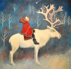 Special Offer 6 x Large 150mm Cards Sami reindeer by LupiArt