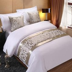 Beautiful Floral Jacquard Bed Runner And Optional Cushion Covers – Classy Stores Online