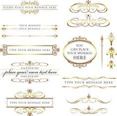 Calligraphy Vintage Clip Art Clipart GOLD DIY Wedding Invitation Scrapbook Text Dividers Oval Digital Frame Transparent Middles 10227