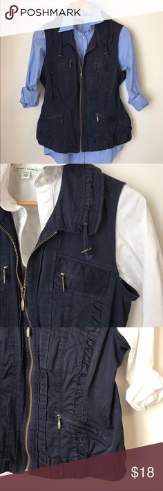 Navy Blue Utility Vest Navy Blue Utility Vest - Zip Front - Drawstring Collar - 4 Zip Pockets - Gently Used Condition - Offers Welcomed Christopher & Banks Jackets & Coats Vests