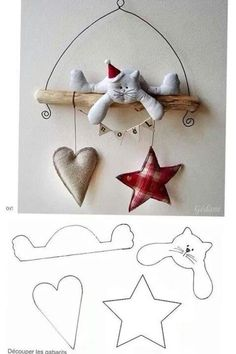 MiiMii - crafts for mom and daughter.: How to make Christmas ornaments for a few pennies - time to start work :) Felt Christmas Decorations, Felt Christmas Ornaments, Christmas Makes, Christmas Time, Christmas Kitty, Christmas Projects, Holiday Crafts, Navidad Diy, Felt Cat