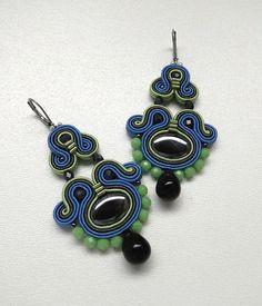 Blue Chandelier Earrings Long Blue Earrings by BeadsNSoutache
