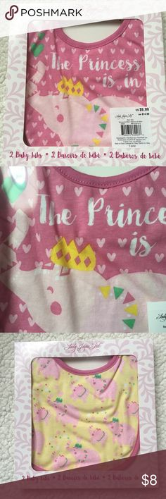 NWT set of 2 pink Bibs Lady Jane 2 bib set. Each is different design. Only one set left! Lady Jane Accessories Bibs