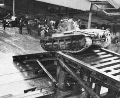 Tanks in the London Docks preparing for embarkation for the D-Day landings in 1944.