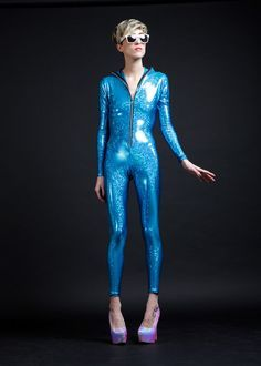 Holographic Blue Turquoise Bodysuit for Getting by AliciaZenobia, $125.00
