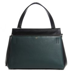 CELINE Grained Calfskin Large Bicolor Edge Shoulder Bag in Black and Green.