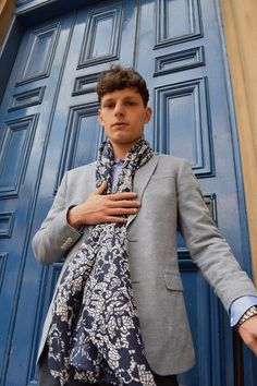 Aqua print scarf with lace pattern - Definite Glam Scarves UK Modern Gentleman, Gentleman Style, Blue Lace, Aqua Blue, Men's Scarves, Lace Print, Elegant, Casual, Pattern