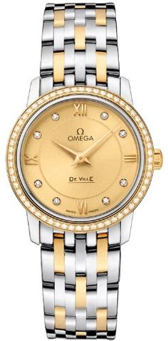 Omega Deville Prestige Quartz Ladies Watch 424.25.27.60.58.001. => http://www.amazon.com/Omega-Deville-Prestige-Quartz-424-25-27-60-58-001/dp/B00CAXBJQO/watches0906-20/ => Brand, Seller, or Collection Name:Omega,Part Number:424.25.27.60.58.001,Item Shape:Round,Display Type:analog-display,Case material:Stainless steel,Case diameter:27.40,Band Material:stainless-steel-gold,Dial color:champagne-diamonds,Bezel material:gold-diamonds,Water resistant depth:30 Meters,Warranty type:Contact seller of…
