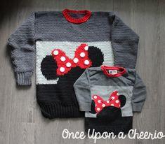Minnie Mouse Sweater FREE Crochet Pattern Crochet Toddler Sweater, Crochet Baby Sweaters, Crochet Mittens, Crochet Girls, Sweater Knitting Patterns, Crochet For Kids, Crochet Hooks, Crochet Clothes, Free Crochet