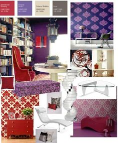 Red And Purple Living Room On Dazzling Looks From