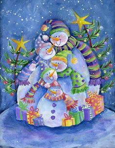 Happy Snowman Family by Pat Olson