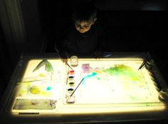 Painting with watercolors on the light table.  Students will love this.