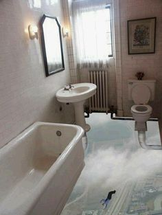 Wouldn't this be so great for the guest bathroom??  Bathroom Floor 3D Art by DivePhoto, via Flickr