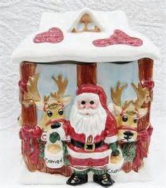 Fitz and Floyd Deer Santa 8 Reindeer Christmas Cookie Jar