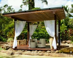 Curtains Gazebo, Pergola, Awning Canopy, Outdoor Curtains, Outdoor Structures, Backyard Ideas, Home Decor, Image, Decorative Garden Fencing