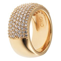 CIRO Jewelry CIROLIT Claw pavé ring large gold. White CIROLIT stones. Pavé claw setting. Available in multiple ring sizes. Gold plated.