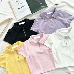 "itGirl Shop CUTE PASTEL CARAMEL COLORS COLLAR CROP TOPS BUCKLE Use coupon ""ITPIN"" to get 10% OFF entire order - itgirlclothing.com 