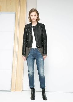 Zip biker jacket - Jackets for Women | MANGO, How would you style these for fall? http://keep.com/zip-biker-jacket-jackets-for-women-mango-by-gabrielle_yasmeen/k/3UxRrKABHa/