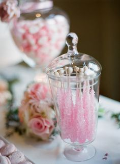 Pink wedding candy buffet.