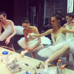 "NYC Ballet ""Symphony in C"" - to show my students even professional dancers sew their ribbons for a show!"
