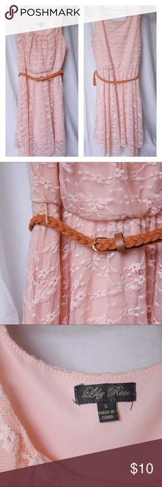 Pink Lace Dress W/ Belt This dress is a baby pink color with a lace overlay and brown braided belt. Mid-length 💗Condition: worn a handful of times but in excellent condition! Just fraying slightly at the bottom (pictured) 💗Make me an offer! I'm trying to get rid of things I don't need 💗Bundle and save! 💗Comment with any questions :) Lily Rose Dresses Midi