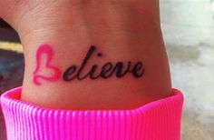 Cancer ribbon tattoos and breast cancer tattoos are a symbol of resistance and support. Check out this amazing gallery of inspirational tattoos! 1 Tattoo, Wrist Tattoos, Piercing Tattoo, Get A Tattoo, Tattoo Quotes, Ribbon Tattoos, Tattoo Pics, Neck Tattoos, Infinity Tattoos