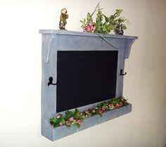 Chalkboard with Hooks Shabby Rustic Chic    by daleswoodandmore