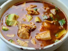 Sopa Azteca - almost exactly the same as the Caldo Tlapeño I posted before, but with a much better picture! Salvador Food, Recetas Salvadorenas, Good Food, Yummy Food, Cooking Recipes, Healthy Recipes, Latin Food, Recipe For Mom, International Recipes