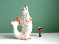 Vintage große Fisch Vase Japan Porzellan 50er von ILoveSparrows auf DaWanda.com
