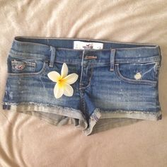NWOT Hollister Low Rise Short-Shorts Short-shorts with destruction, fading and whiskering through thighs, cuffed hems with raw edges. Medium Wash, 99% cotton/1% spandex. Never worn! Hollister Shorts Jean Shorts