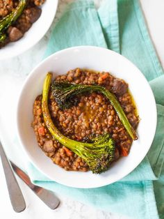 #AD Creamy Lentils and Mushrooms with Roasted Broccolini