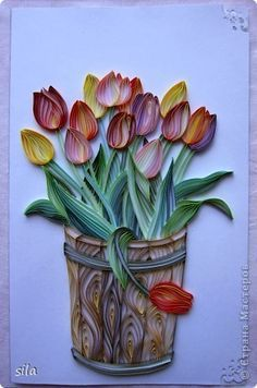 Papel Tarjeta de cumpleaños de los tulipanes Quilling de papel cartón Pegamento tiras Foto 10