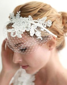 Bird Cage Veil with Flower Decoration / Handmade / Hairband