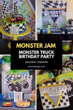 "Monster Truck ""monster Jam"" Birthday Party - Elva M Design Throughout Monster Jam Party Decorations - Best Home & Party Decoration Ideas Festa Monster Truck, Monster Trucks, Monster Truck Birthday, Monster Jam, Monster Party, Third Birthday, Birthday Bash, Birthday Invitations, Birthday Parties"