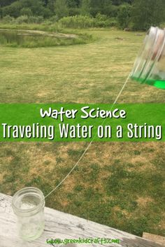 Make water travel on a string from one cup to another with this traveling water experiment. Kitchen science and water science for kids...