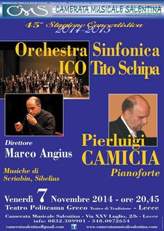 Camerata Musicale Salentina propone, con il 2° appuntamento della 45^ Stagione Concertistica, il Recital pianistico di Pierluigi Camicia venerdì 7 novembre 2014 c/o il Teatro Politeama Greco di Lecce