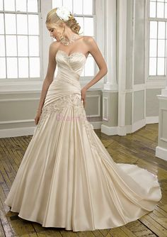 new cream wedding dress   satin lace wedding gowns by Charmbride, $259.00 etsy