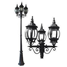 eTopLighting La puissance Collection Oil Rubbed Black Finish Outdoor Post Pillar Lantern Light w/ Beveled Glass APL1132