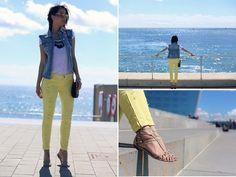 Featured on Stradivarius Magazine Denim Vest Yellow Pants Nude Sandals Mirror Sunglasses Barcelona