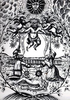 """""""Mutus liber"""", o livro sem palavras da alquimia, editado por Eugene Canseliet, 1677 - """"É realmente um erro termos tomado os alquimistas como os percursores dos químicos, uma vez que eles olhavam a virtude mais pura e a sabedoria como uma condição indispensável ao sucesso de suas manipulações (...)."""" Simone Weil"""