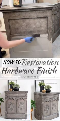 Hi thanks for joining me! I'm excited to share today's makeover with you. This dated sewing cabinet has been reloved into a DIY Restoration Hardware Greige Finish using only TWO paint colors. And the best part — YOU control how light or dark you Diy Furniture Plans, Diy Furniture Projects, Refurbished Furniture, Repurposed Furniture, Furniture Decor, Wood Projects, Farmhouse Furniture, Diy Furniture Videos, Dresser Furniture