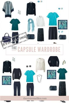 How to Evaluate a capsule wardrobe in a navy, teal, and white color palette