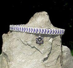 Hemp Macrame Necklace Lilac and White Hemp Macrame Charm