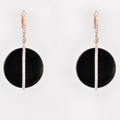 Onyx Circle Earrings with Rose Gold Silver and Swarovski Stones