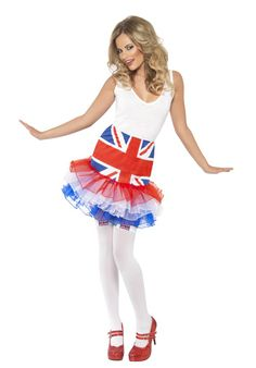 This adorable Union Jack Tutu is the perfect way to show everyone how proud you are to be British! Tutu Costumes, Period Costumes, Fancy Dress Accessories, Costume Accessories, Diy Tutu, Pub Crawl, Union Jack, British Style, Cheer Skirts